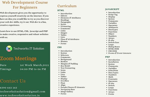 Curriculum-Website Development Training.