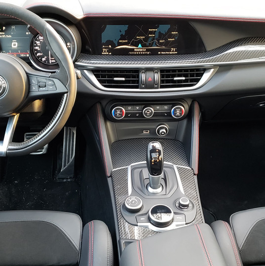 The dashboard of the dashing 2019 Alfa Romeo Stelvio QV