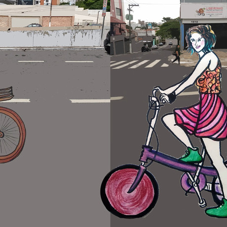 Rita riding in the streets of São Paulo