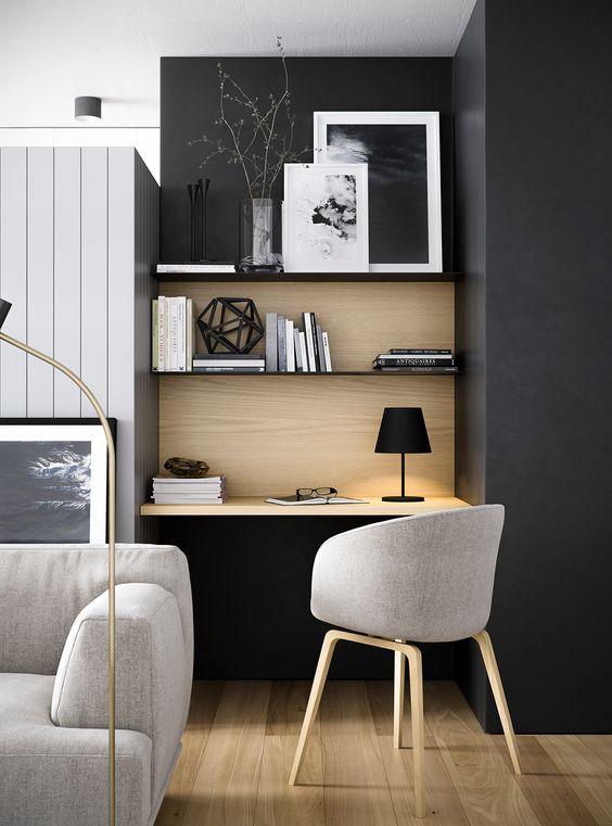 интерьер гостиной совмещенной с кабинетом