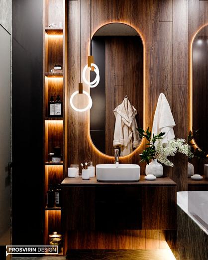 Зонирование ванной комнаты: ширмы, подиумы, свет