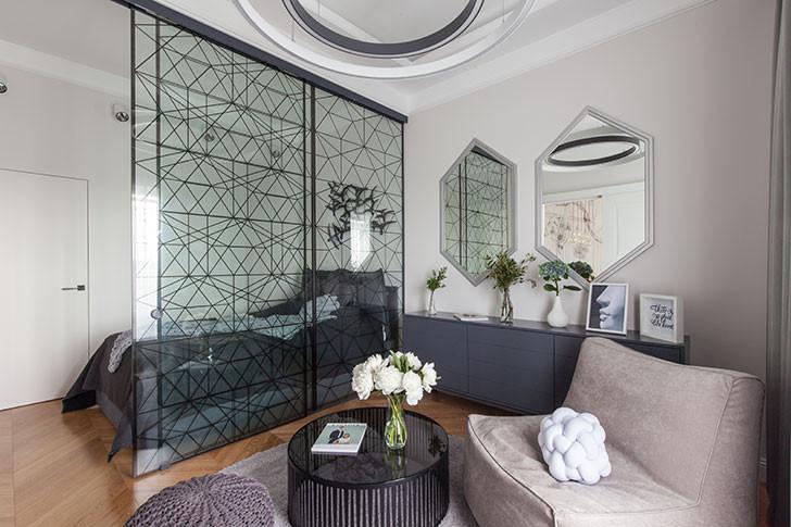 дизайн спальни совмещенной с гостиной