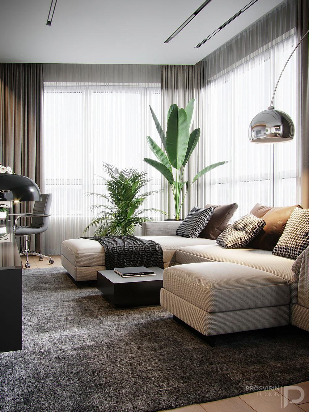 оформление интерьера с панорамными окнами
