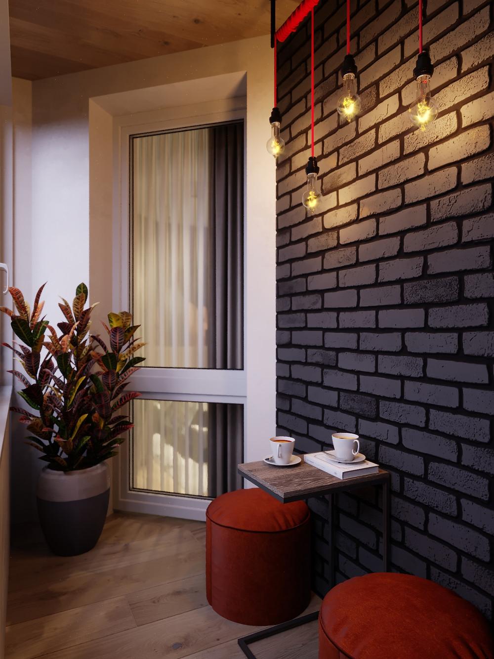реалистичная кирпичная стена в стиле Лофт