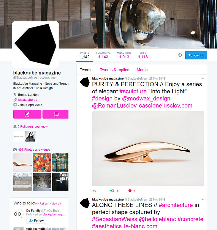 blackqube magazine twitter showing 'Light and Radiant' bronze sculpture by Cascione & Lusciov