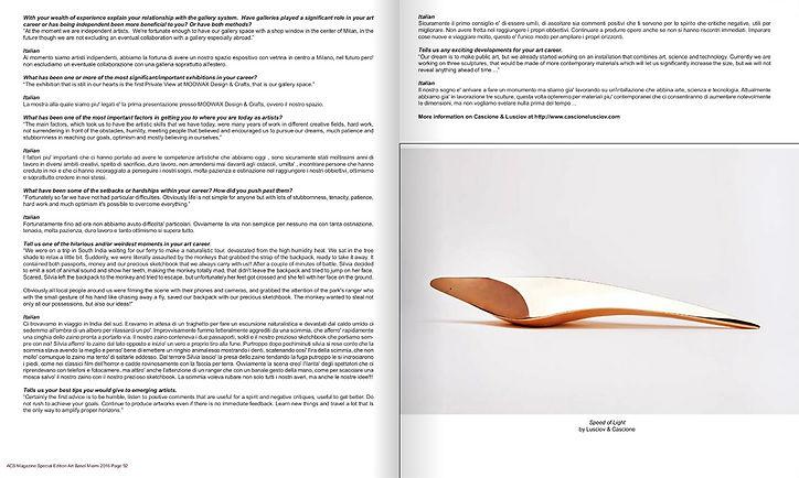 'Speed of Light' bronze sculpture by Cascione & Lusciov feature in ACS Magazine