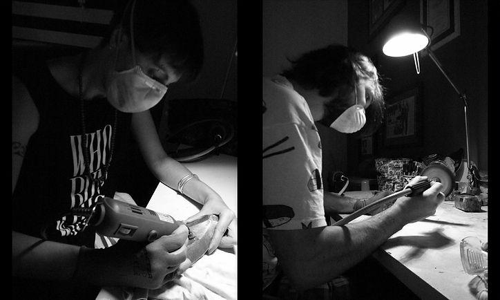 Artists Silvia Cascione & Roman Lusciov are at work at their studio