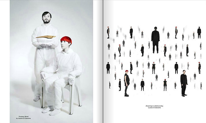 left: 'Timeless World' right: 'Dreaming in a Multiverse' by Cascione & Lusciov feature in ACS Magazine
