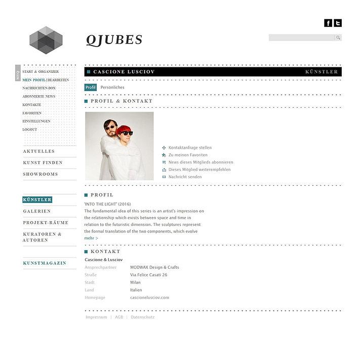 Cascione & Lusciov press on Qjubes: DAS NETZWERK FÜR PROFIS UND KUNSTLIEBHABER
