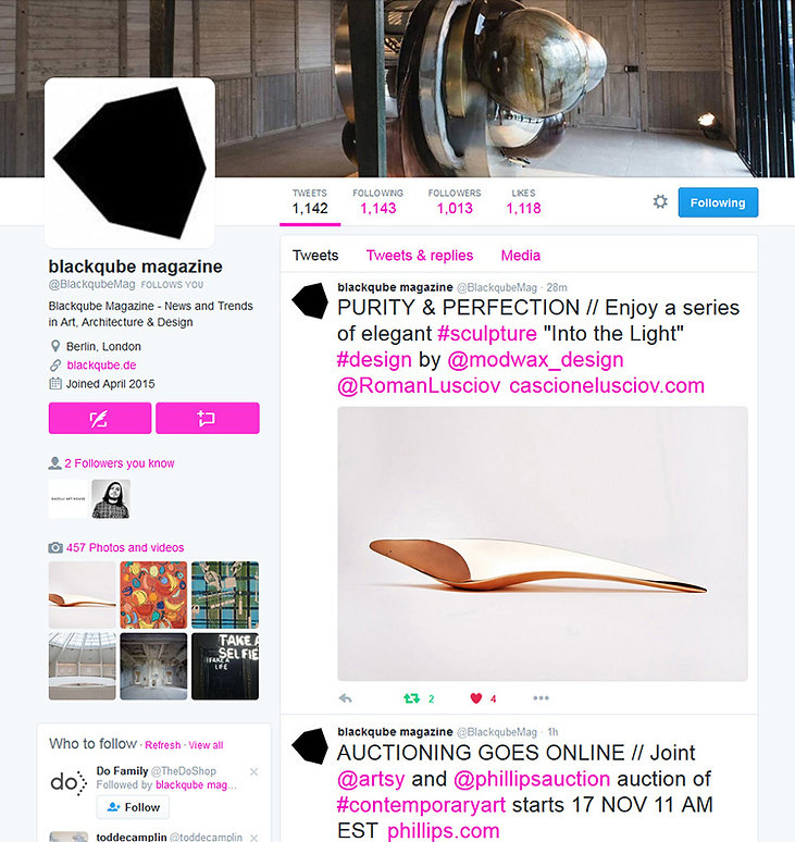blackqube magazine twitter showing 'SPEED OF LIGHT' bronze sculpture by Cascione & Lusciov