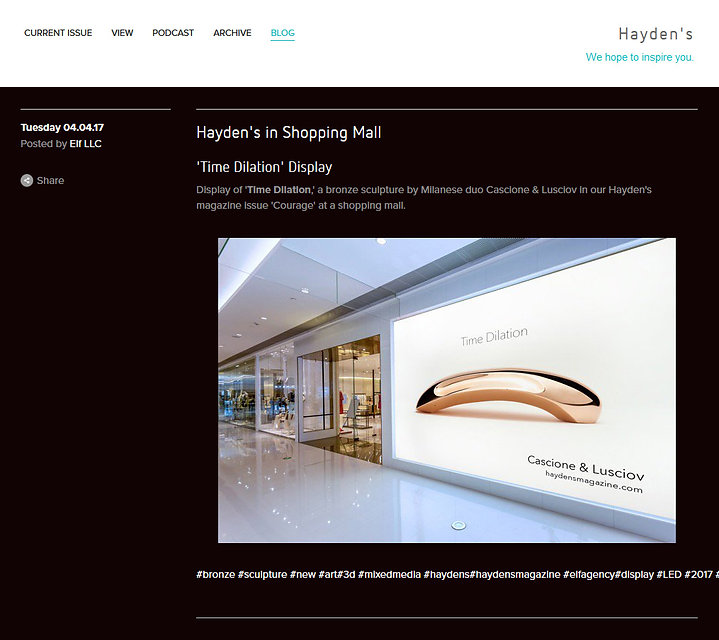 'Time Dilation' bronze sculpture by Cascione & Lusciov in Hayden's Magazine at shopping mall