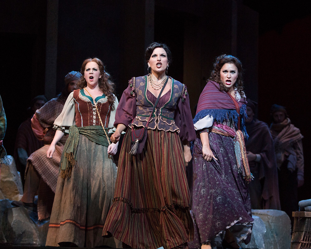 Mercédès (Anna Laurenzo), Carmen (Audrey Babcock), and Frasquita (Christina Pecce). Photo by Marty Sohl.jpg