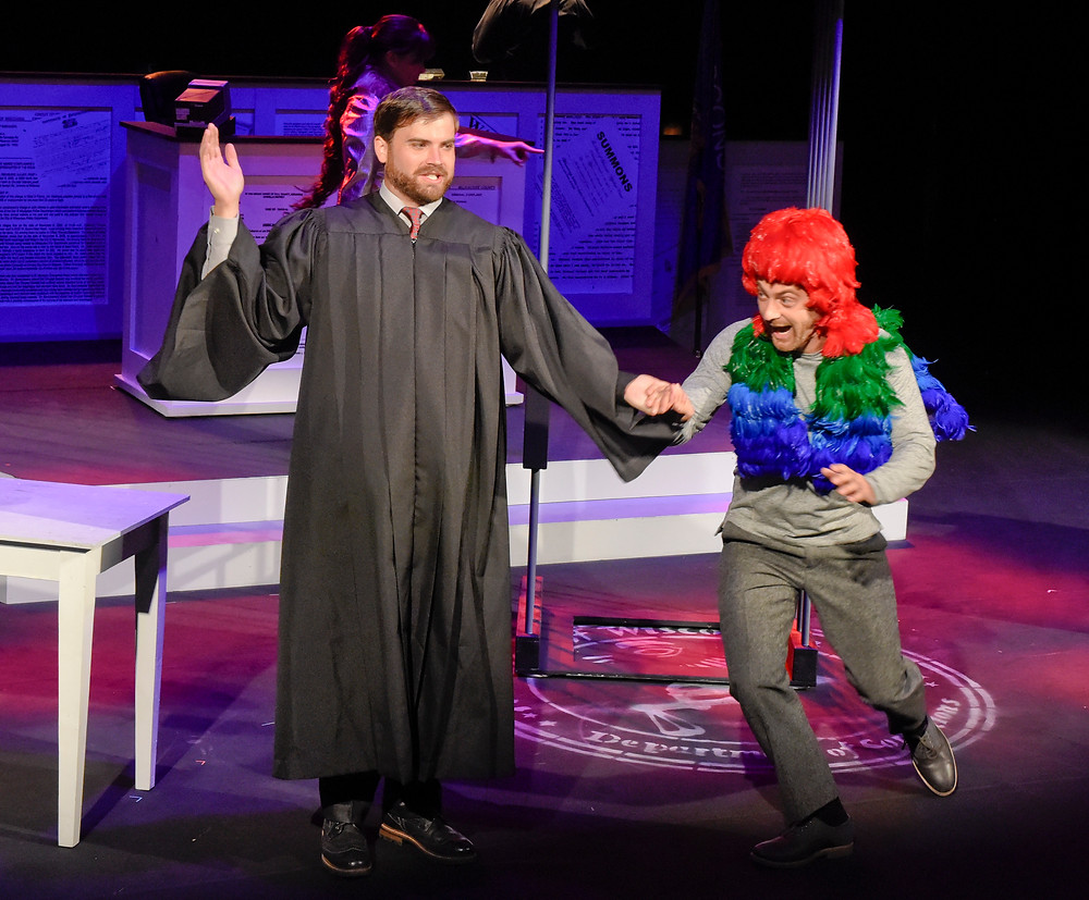 Tenor Andrew Surrena as a judge in a heated custody battle over a macaw (Trevor Martin) in 'Voir Dire'; Karen Almond, Fort Worth Opera