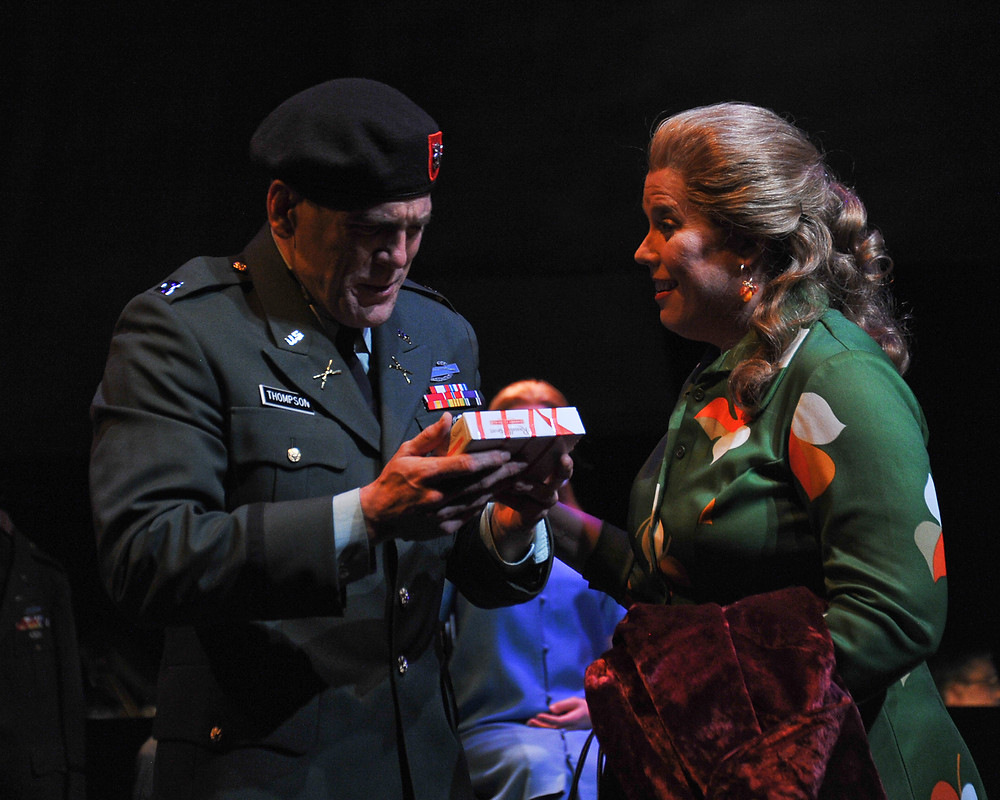 Old Thompson (Michael Mayes) and Old Alyce (Caroline Worra) reunite after Thompson spent years in a POW camp; photo by Ellen Appel.
