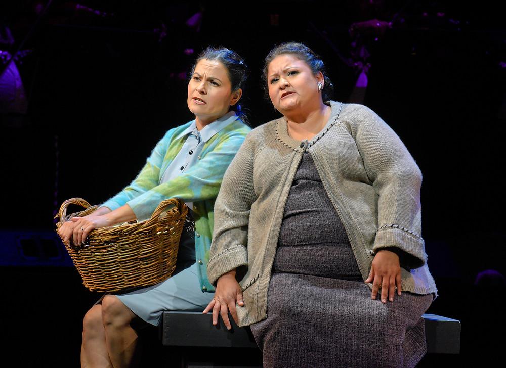 Renata (Cecilia Duarte), left, and Lupita (Vanessa Cerda-Alonzo) in 'Cruzar la Cara de la Luna;' photo by Karen Almond.