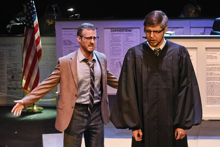 Dr. Henry Milton (Trevor Martin) professes his guilt to Judge Dodsworth (Nate Mattingly), in 'Voir Dire'; Karen Almond, Fort Worth Opera