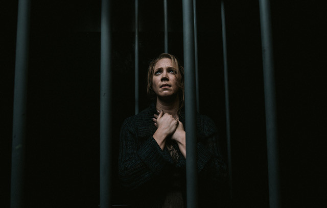 Anna Laurenzo as Alicia Simpson in the world premiere of 'Voir Dire'; Nine Photography