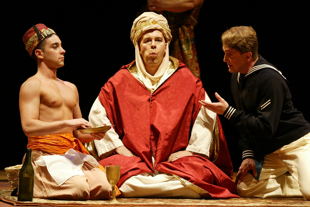 "Left to right, Taddeo, Mustafa, and Lindoro (Corey Trahan, Rod Nelman, and David Abrams) in Fort Worth Opera's ""The Italian Girl In Algiers"" 2004; photo by Ellen Appel."