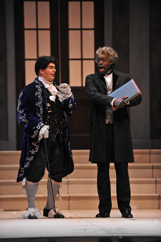 Don Magnifico (Rod Nelman) and Alidoro (Derrick Parker); photo by Ellen Appel.