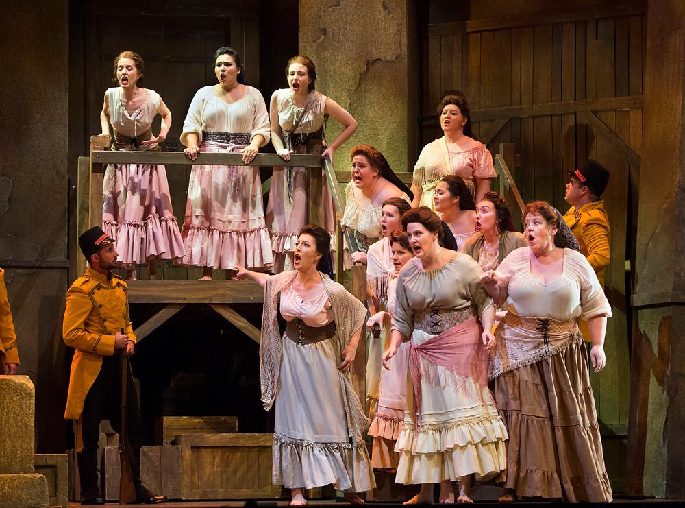 The Act I women's chorus of Fort Worth Opera's 'Carmen'