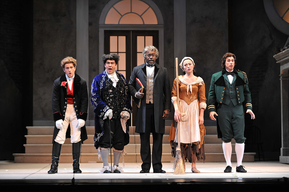 Dandini (Andrew Garland), Don Magnifico (Rod Nelman), Alidoro (Derrick Parker), Angelina/ Cinderella (Isabel Leonard), and Prince Ramiro (Michele Angelini); photo by Ellen Appel.
