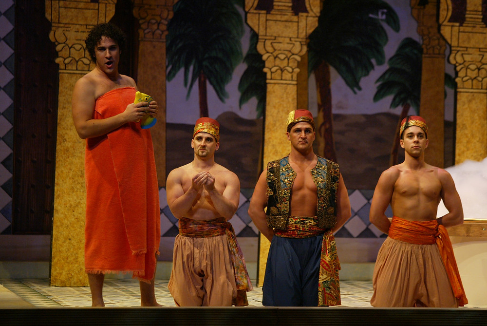 "Ali (David Giuliano) and the chorus from Fort Worth Opera's ""The Italian Girl In Algiers"" 2004; photo by Ellen Appel."