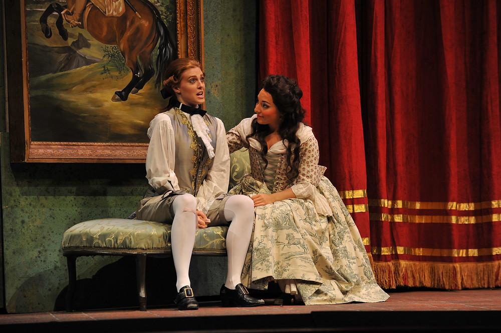 Wallis Giunta (Cherubino) and Andrea Carroll (Susanna); photo by Ellen Appel