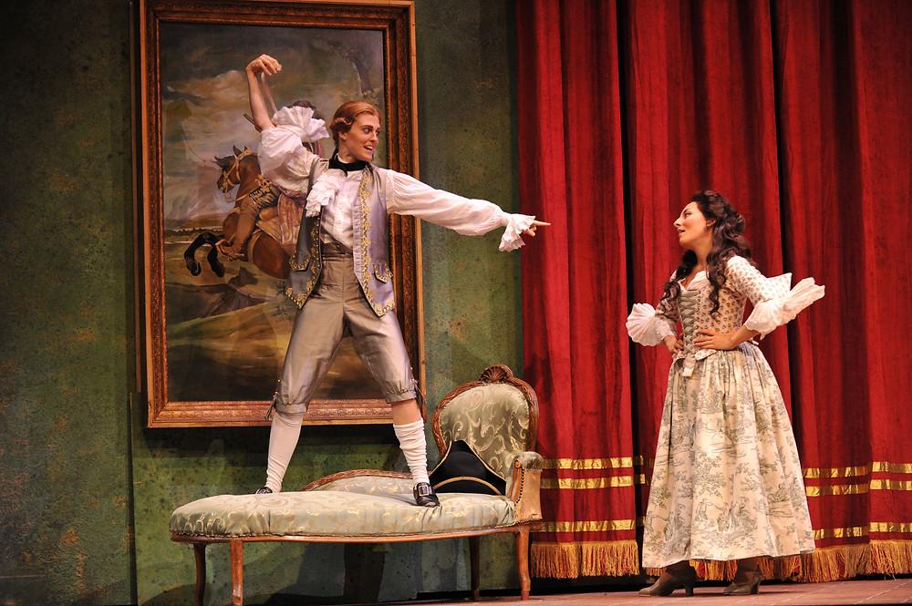 Wallis Giunta (Cherubino) and Andrea Carroll (Susanna) in FWO's 2012 Festival production of The Marriage of Figaro; photo by Ellen Appel