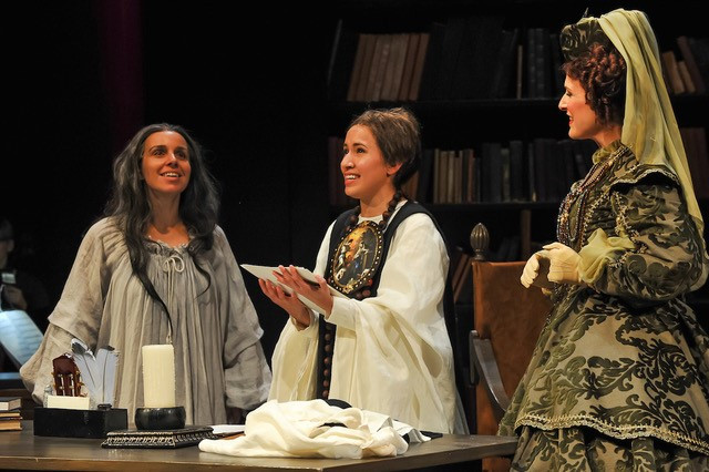 From Left: Dying Sor Juana (Sandra Lopez), Young Sor Juana (Vanessa Becerra), and Countess Maria Luisa (Audrey Babcock) in With Blood With Ink at Fort Worth Opera