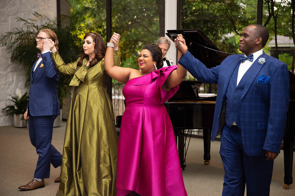 Left to Right: Erik Earl Larson, Jennifer Rowley, Janani Sridhar, and Jonathan Walker-VanKuren; On Piano Maestro Joe Illick at our 2019 Southern Soirée Gala