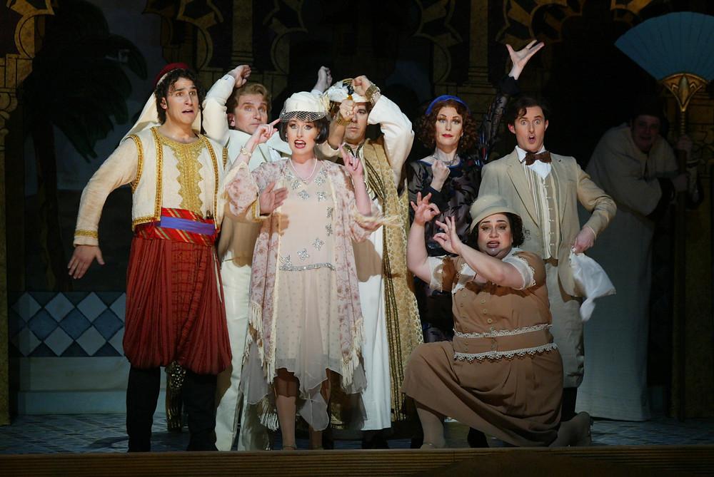 "The cast of ""The Italian Girl In Algiers"" singing about Mustafa's (Rod Nelman) wife, Elvira (Angela Turner Wilson), in the center; photo by Ellen Appel."