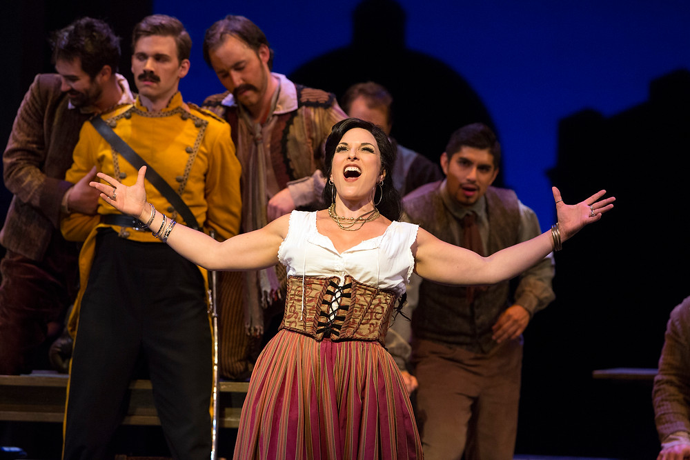 Carmen (Audrey Babcock) singing Love is a Rebellious Bird. Photo by Marty Sohl