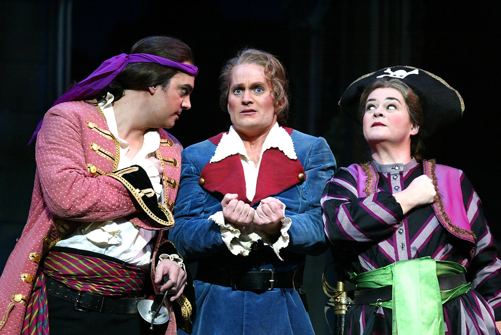 Left to right, Kyle Pfortmiller (Pirate King), Curt Peterson (Frederic), Kathryn Cowdrick (Ruth); Photo by Ellen Appel.