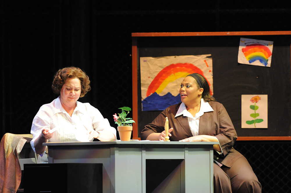 Robynne Redmon (Sister Helen Prejean) and Adrienne Danrich (Sister Rose); photo by Ellen Appel