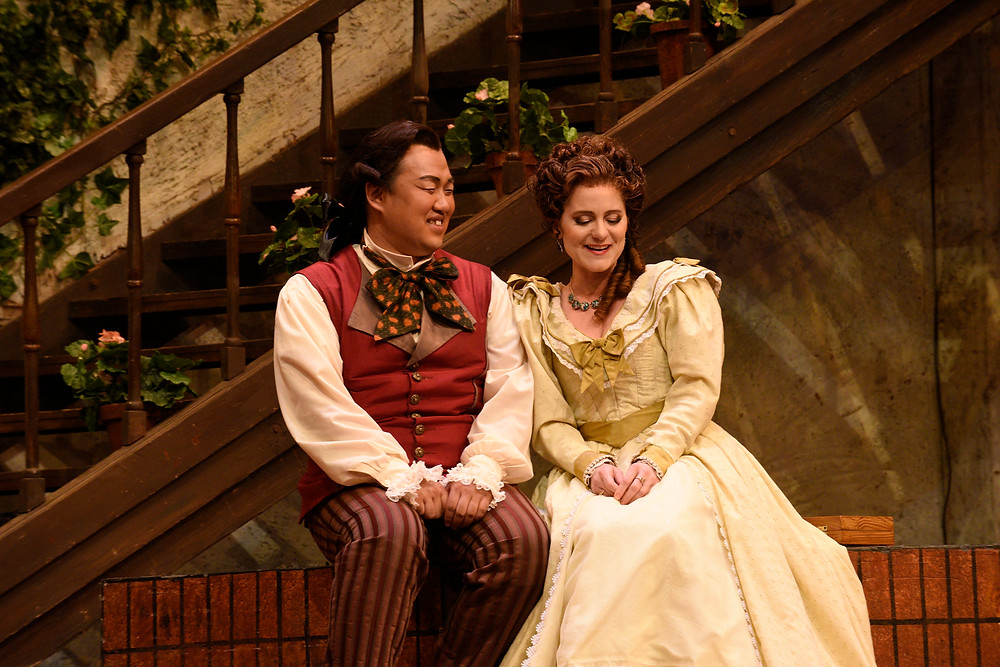 "Figaro (Joo Won Kang) and Rosina (Megan Marino) in ""The Barber of Seville"" FWO 2016; photo by Karen Almond."