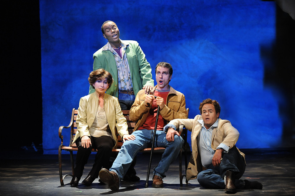 Janice Hall, Daniel Billings, David Adam Moore, and Scott Scully in 'Angels in America.' Photo by Ellen Appel