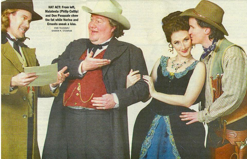 "2003 - Director David Gately's wildly clever, ""spaghetti western"" production of  'Don Pasquale."" Donizetti's beloved bel canto classic was transported from 19th century Rome to the wild, wild west. Norina (Malinda Haslett), Don Pasquale (Kevin J Glavin), Ernesto (Matt Morgan), and Doc Malatesta (Philip Cutlip); Ellen Appel. Star-Telegram photo of entire cast: Sharon M. Steinman."