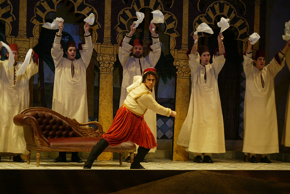 "Ali (David Giuliano) and the chorus of Fort Worth Opera's ""The Italian Girl In Algiers"" 2004; photo by Ellen Appel."