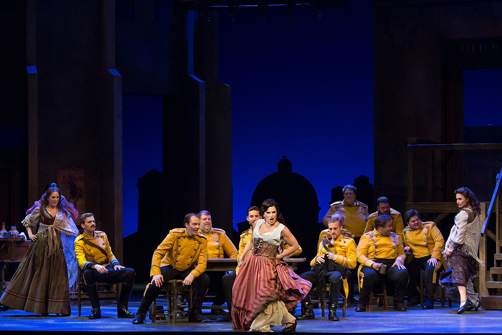 Audrey Babcock, cast, and chorus of Bizet's 'Carmen.' Photo by Marty Sohl.
