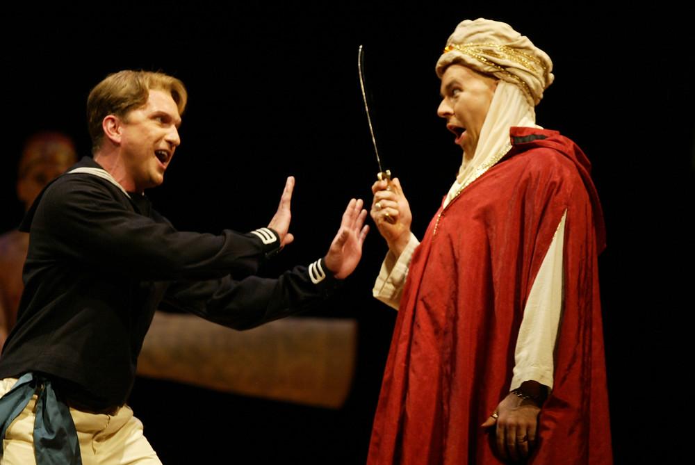 Lindoro (David Adams) and Mustafá (Rod Nelman) in an arguement; photo by Ellen Appel.