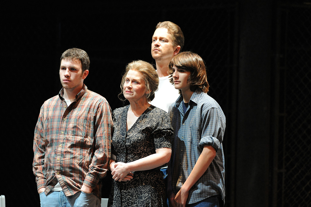 Sheryl Woods (Mrs. Patrick De Rocher), Daniel Okulitch (Joseph De Rocher), Kyle Booth (Younger Son), and Nathan Patrick (Older Son); photo by Ellen Appel