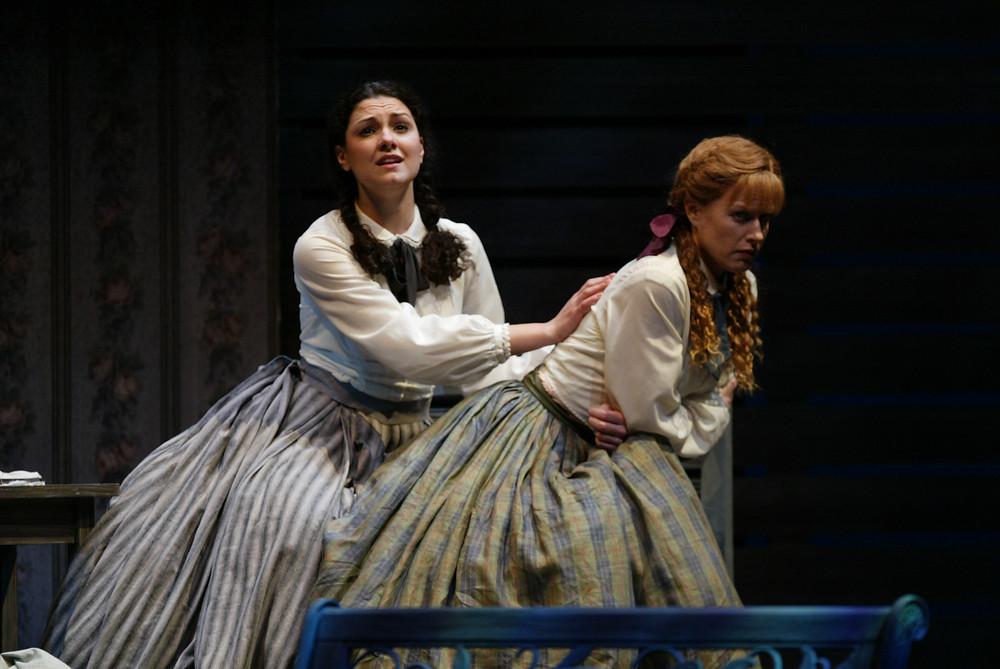 Sandra Piques Eddy (Meg March) and Jennifer Dudley (Jo March). Photo by Ellen Appel.