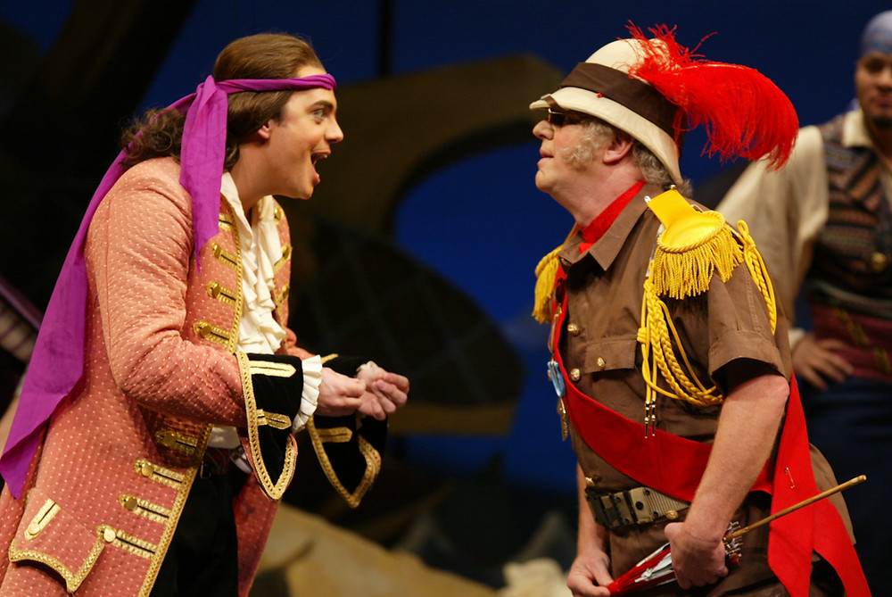 Left to right,  Kyle Pfortmiller (Pirate King) and John Stephens (Major-General Stanley); Photo by Ellen Appel.