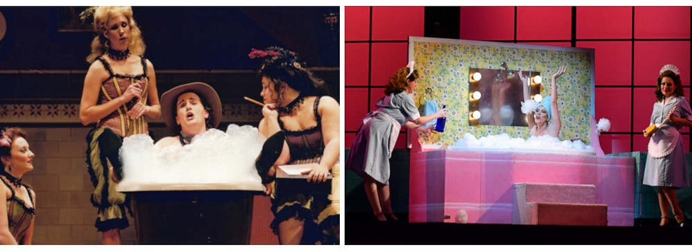 "Left, Director David Gately's wildly clever, ""spaghetti western"" production of 'Don Pasquale,"" Fort Worth Opera, 2003. Right, Grammy Award-winning soprano Audrey Luna as Norina singing her opening aria in Don Pasquale; Photo by Ben Torres."