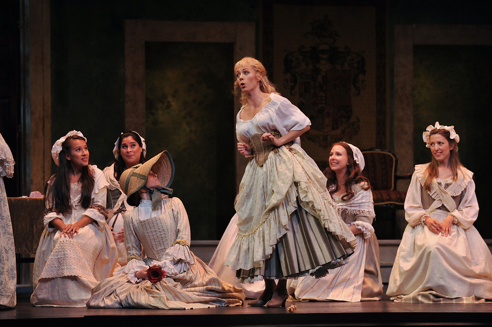 Barbarina (Corrie Donovan) with the ladies chorus of 'The Marriage of Figaro'; photo by Ellen Appel