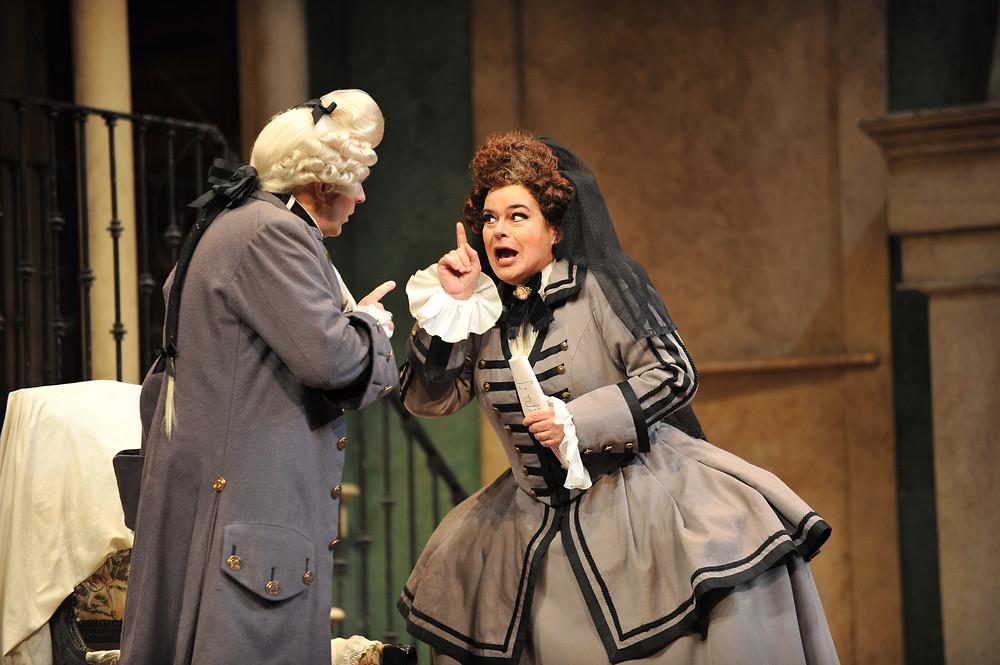 Kathryn Cowdrick as Marcellina and Rod Nelman as Don Bartolo; photo by Ellen Appel
