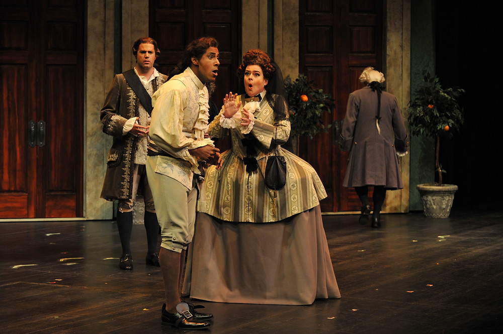 Jonathan Beyer, Donovan Singletary, and Kathryn Cowdrick in FWO's 'The Marriage of Figaro'; photo by Ellen Appel