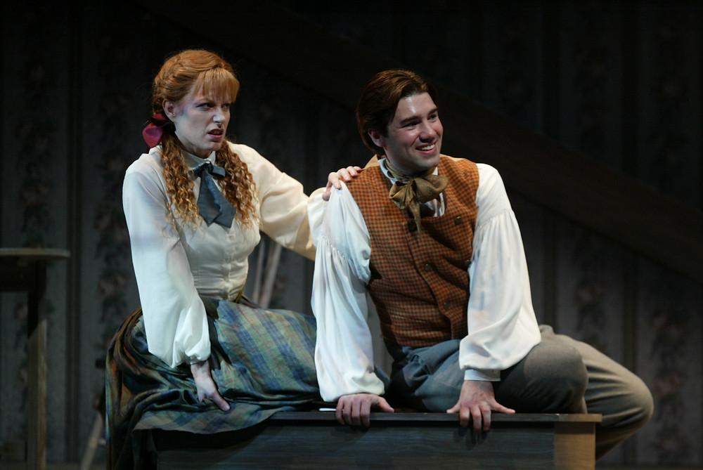 Jo March (Jennifer Dudley) and Benjamin Bunsold (Laurie). Photo by Ellen Appel.