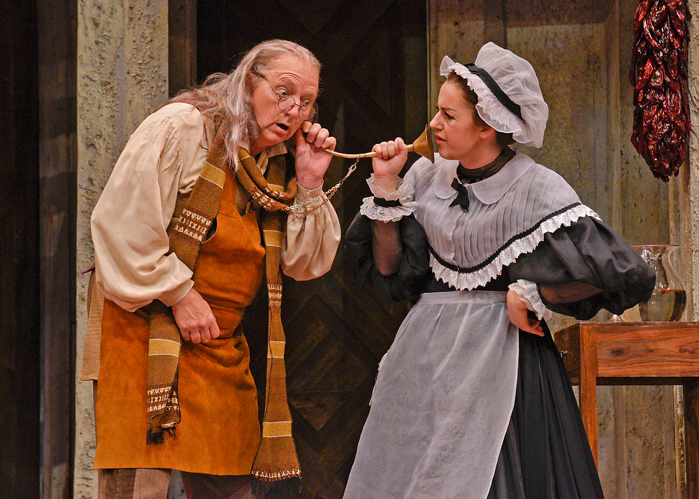 "Left to right, Ambrogio (Doug Jackson) and Maren Weinberger in ""The Barber of Seville"" FWO 2016; photo by Karen Almond."