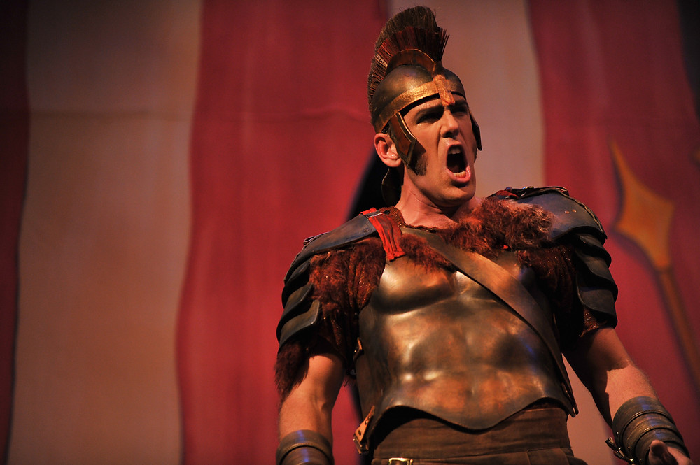 Michael Mayes (Kinesias) in Mark Adamo's Lysistrata; photo by Ellen Appel